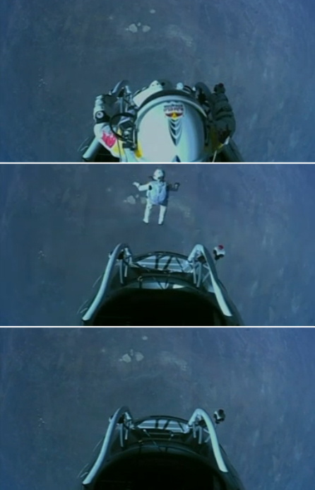 Felix Baumgartner jumps from the edge of space.