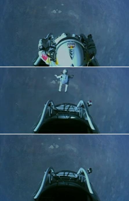 Felix Baumgartner jumps from the edge of space.