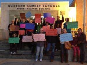 Guilford County residents protest book banning in our schools.
