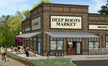 Artists rendering of the new Deep Roots Market store.
