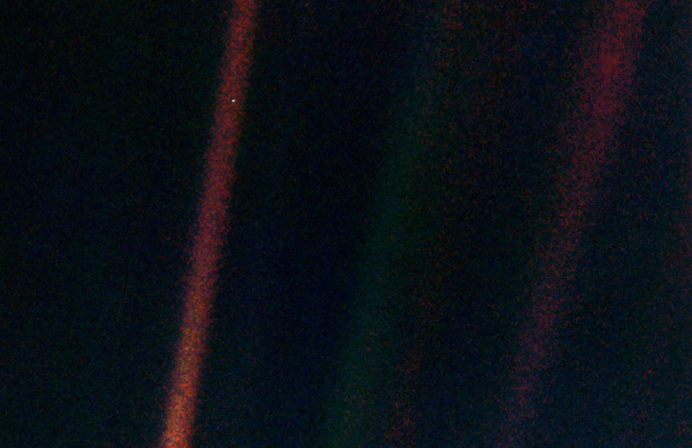 Earth, photographed by Voyager 1.